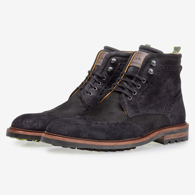 Boot black suede leather