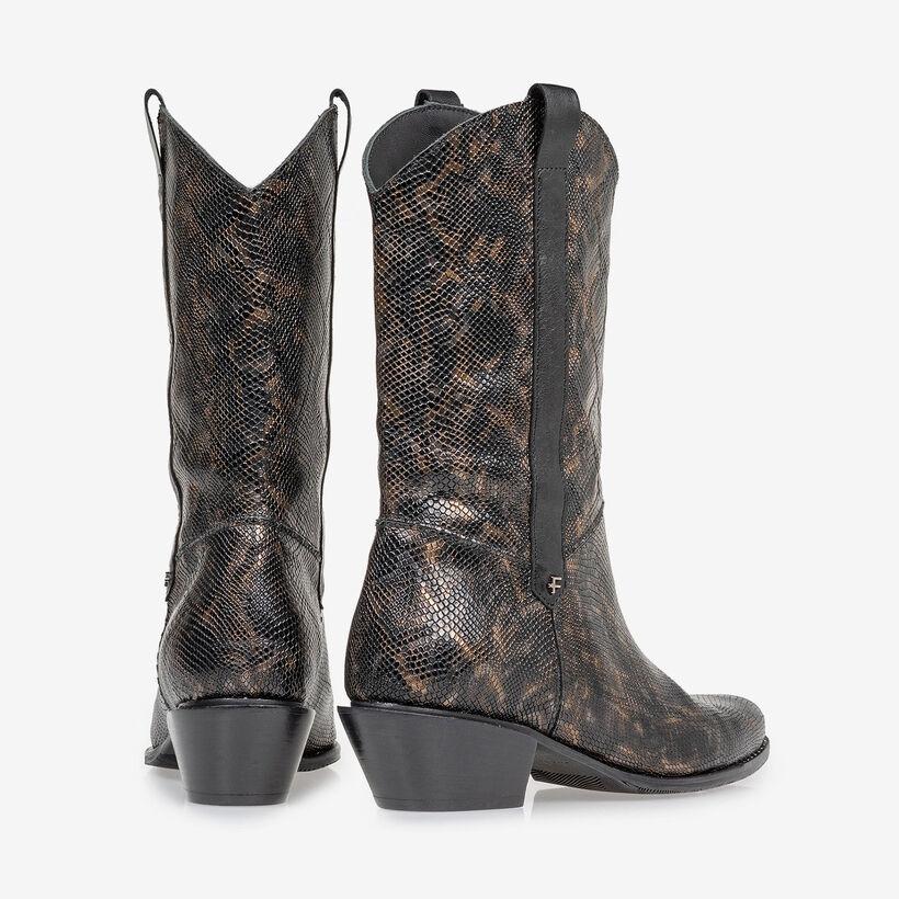 Western boot croco print copper