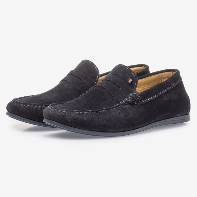 Dark blue suede leather loafer