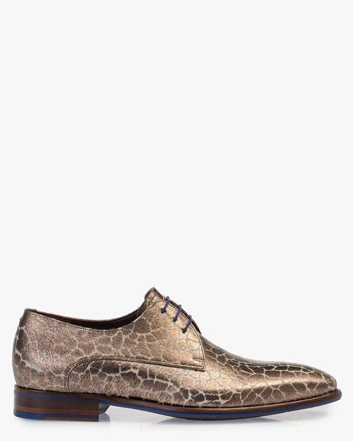 Lace shoe metallic print bronze-coloured