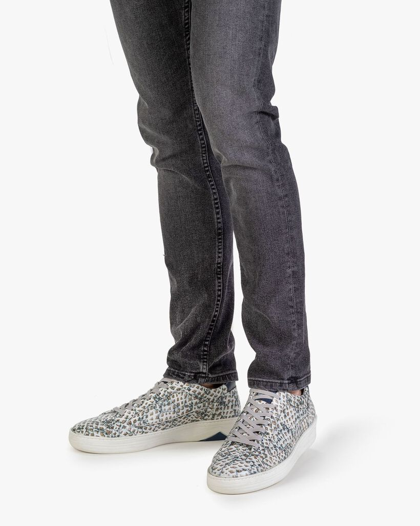 Sneaker printed leather sand-coloured