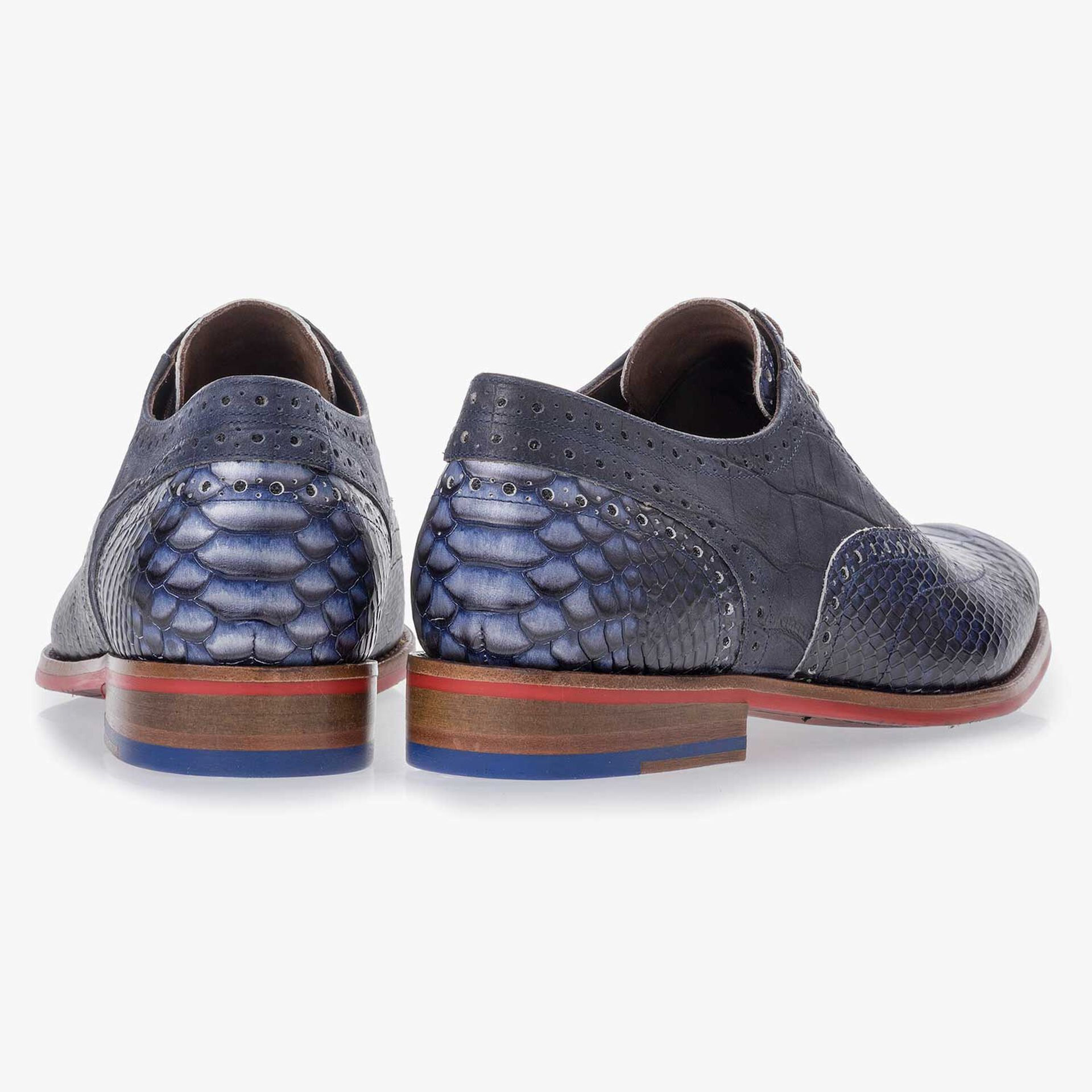 Dark blue leather lace shoe with a snake print
