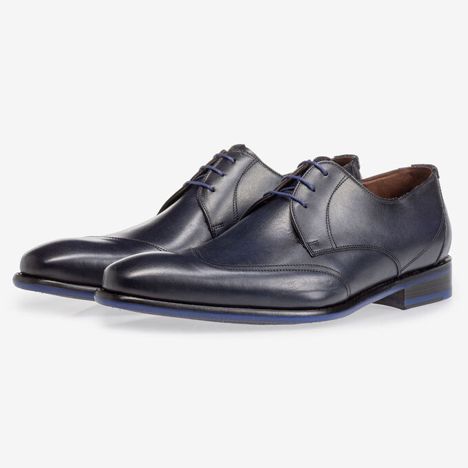 Lace shoe dark blue calf leather