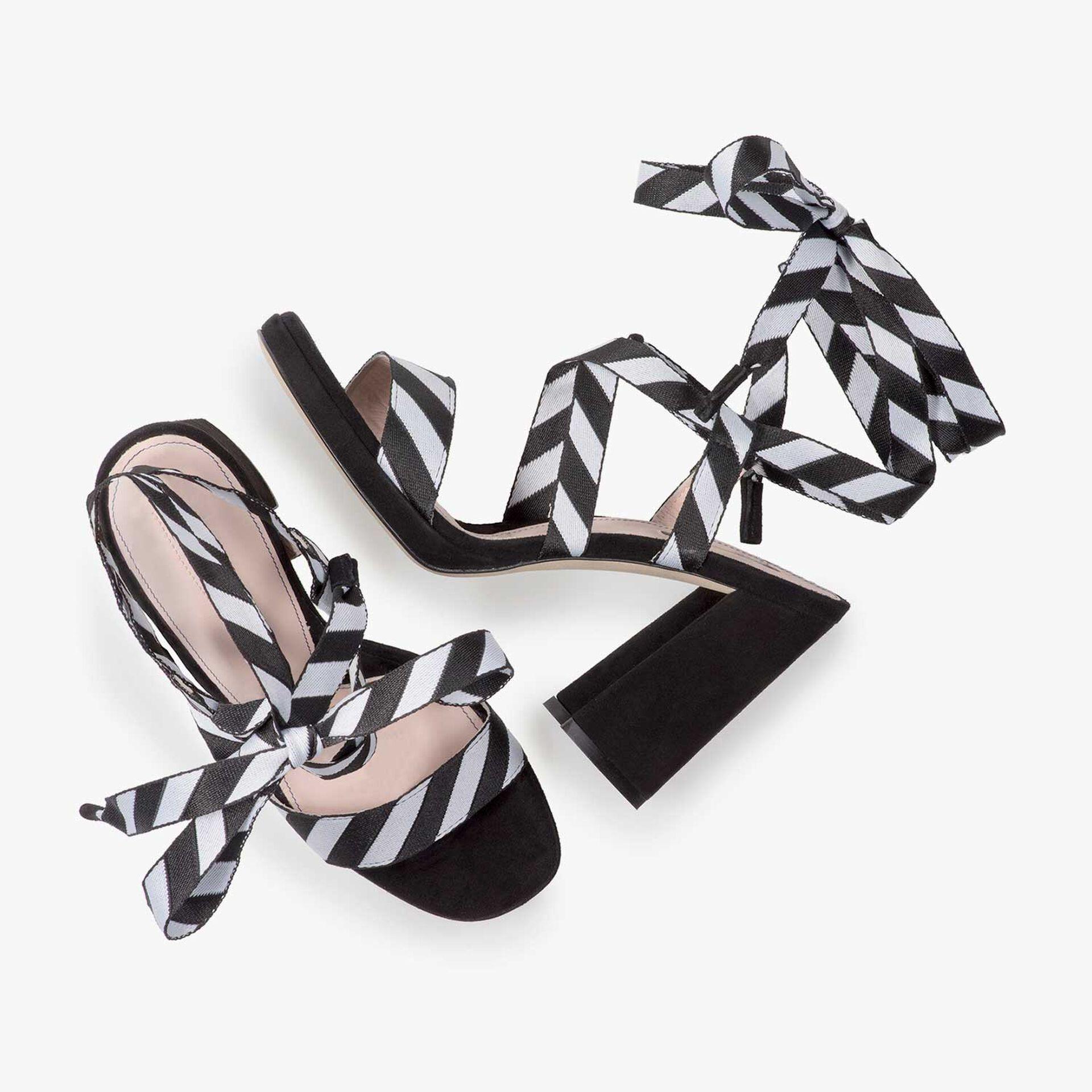 Black high-heeled sandal
