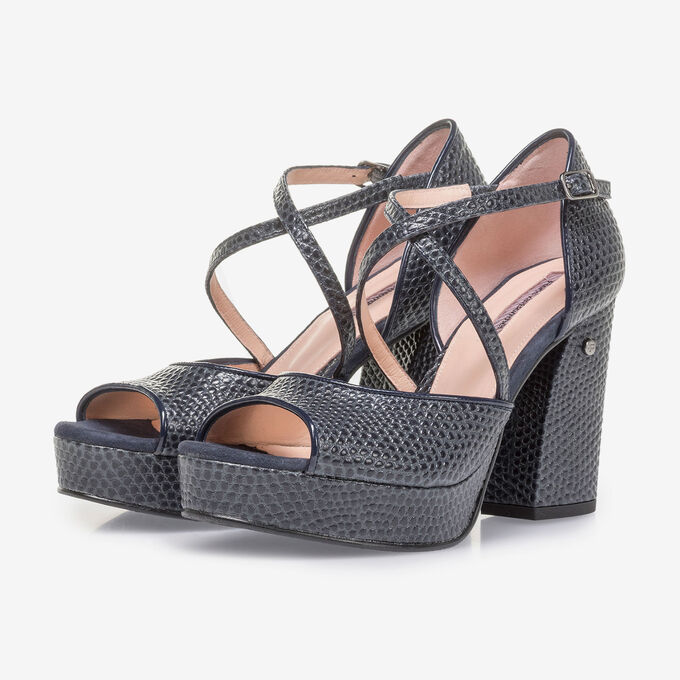 Dark blue high-heeled leather sandals with print