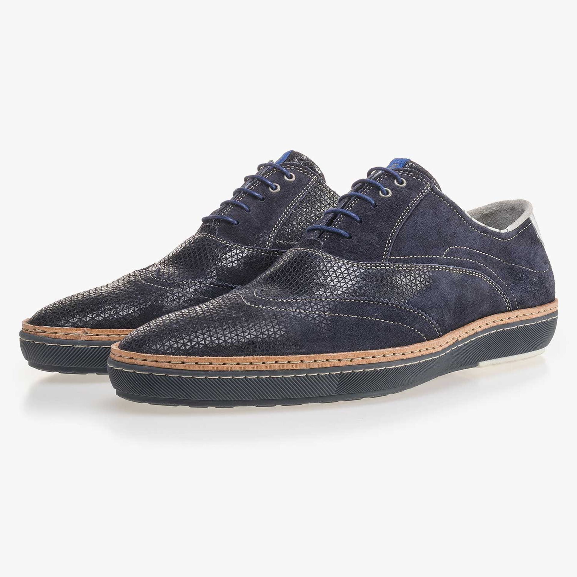 Dark blue brogue suede leather sneaker