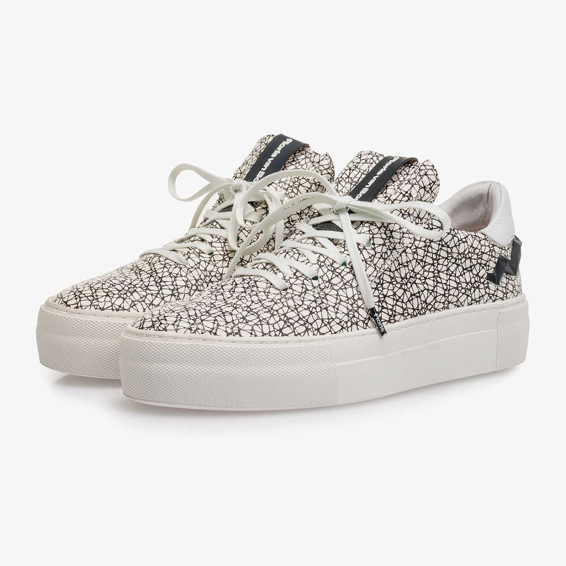 White and black leather sneaker with an all-over-print