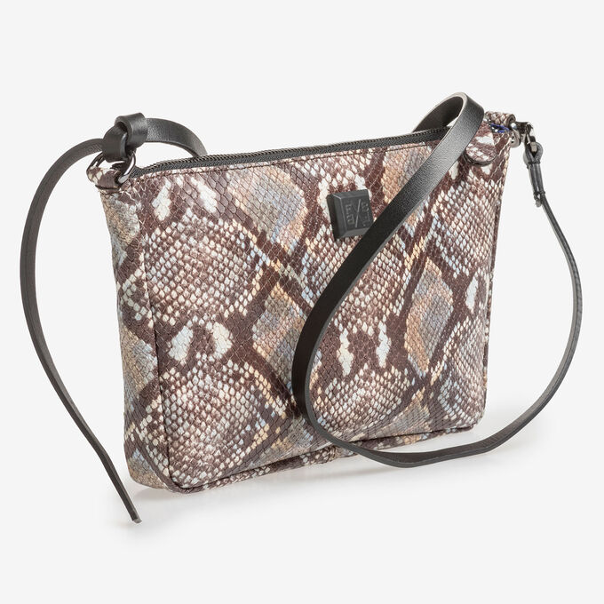 Brown and white leather bag with snake print
