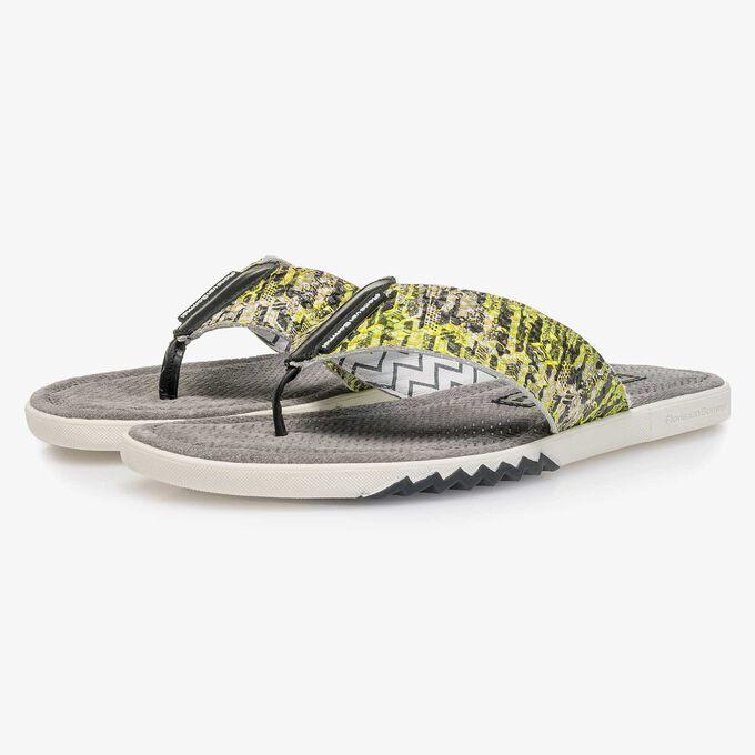 Yellow snake print leather thong slipper