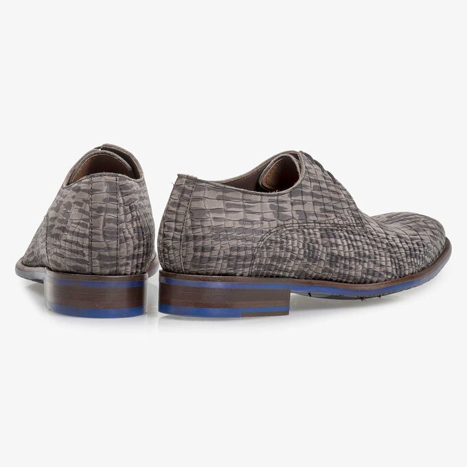 Grey nubuck leather lace shoe with croco print