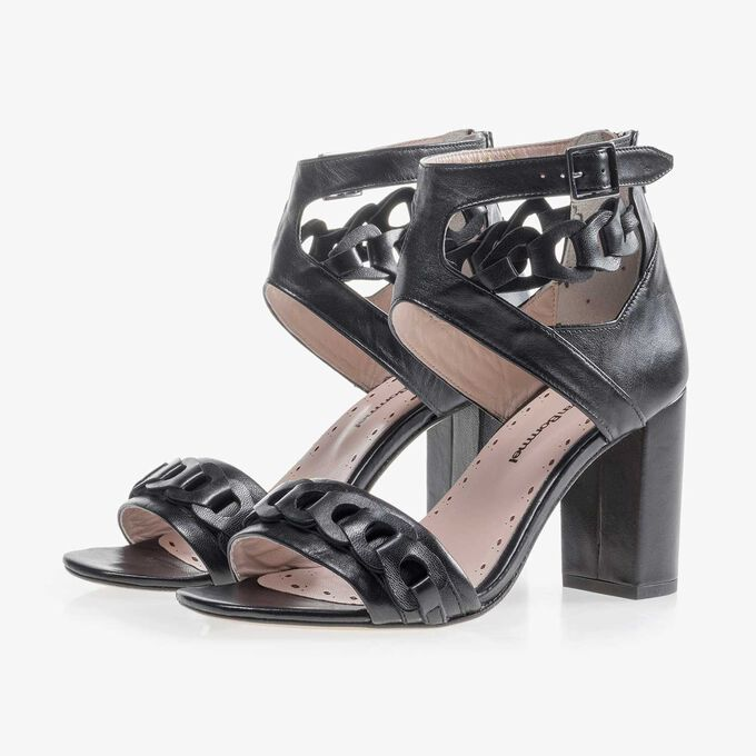 Black leather buckle sandal
