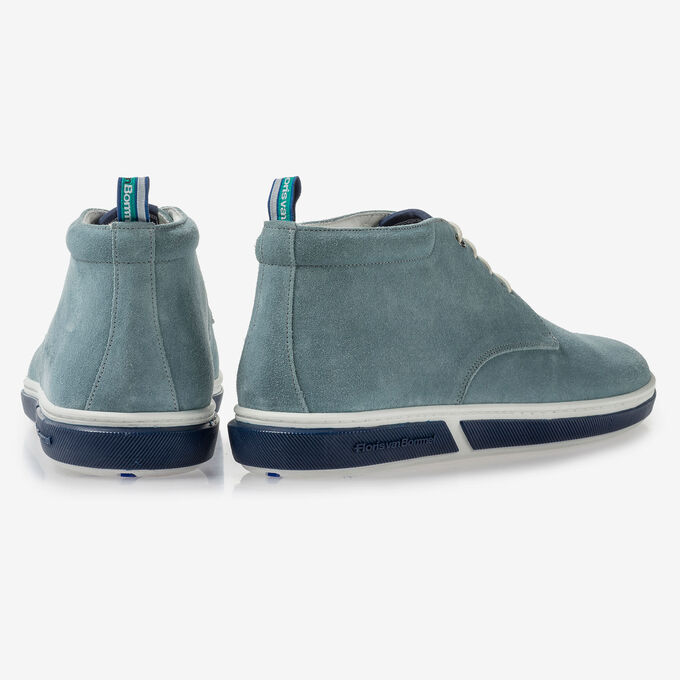 Light blue suede leather lace boot