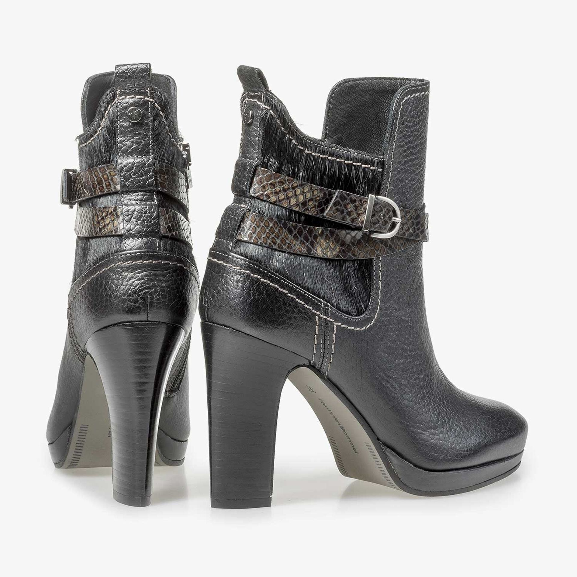 Black calf leather buckle ankle boot