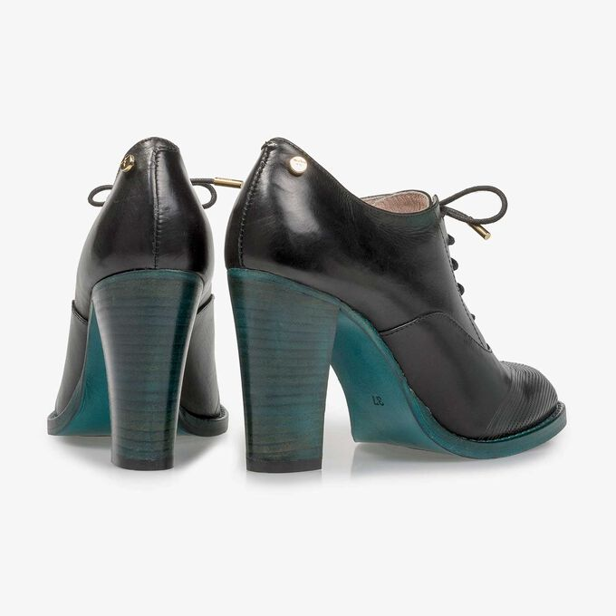 Black calf leather heeled derby