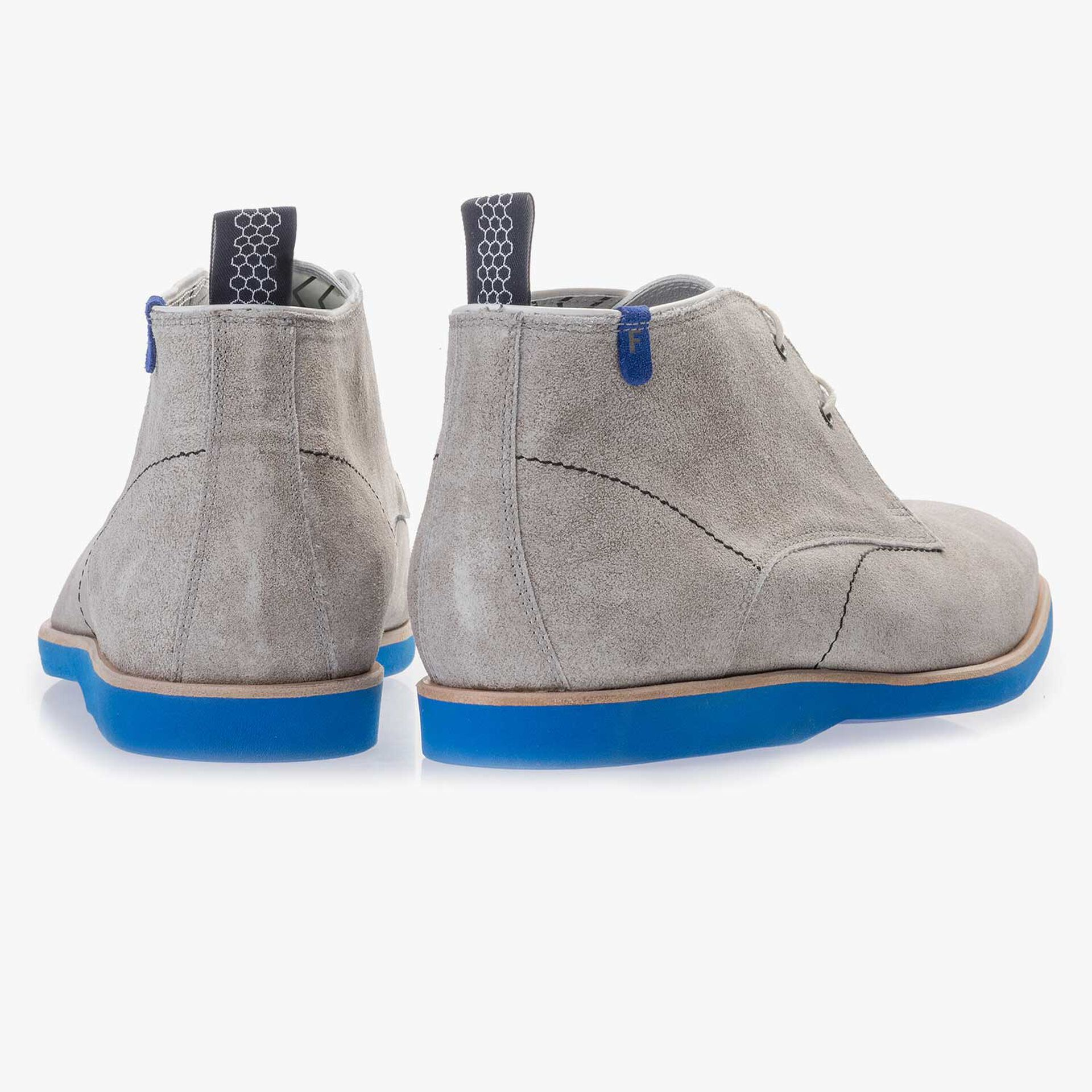 Light grey washed suede leather lace boot