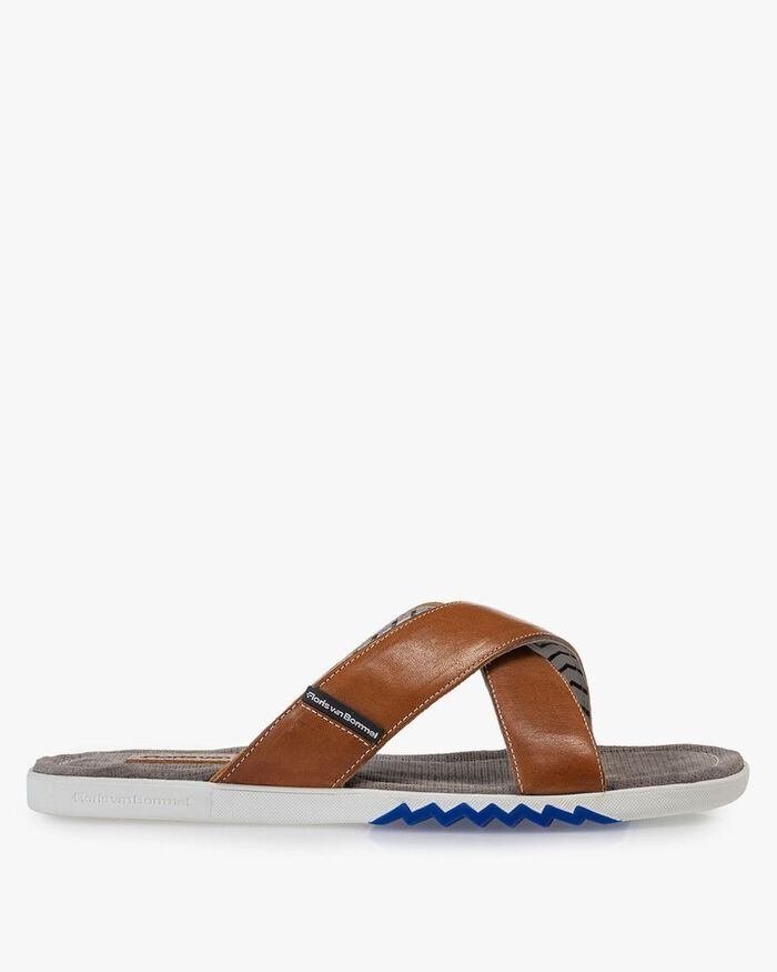 Slipper calf leather cognac