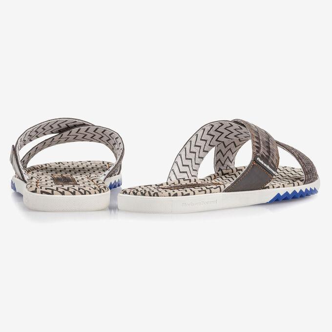 Dark grey nubuck leather cross strap slipper with print