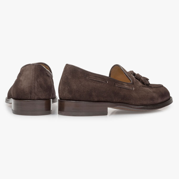 Dark brown suede leather loafer