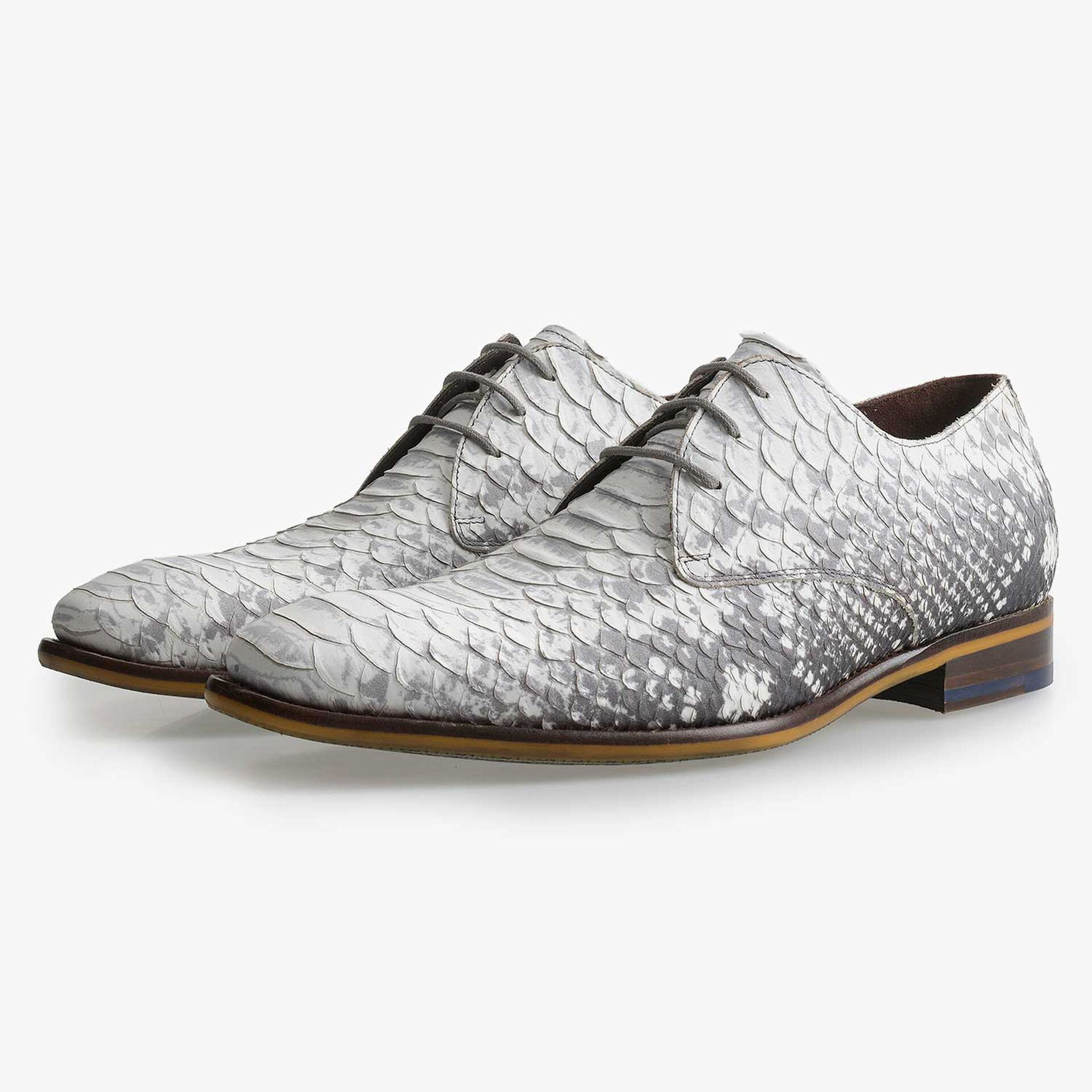 Grey leather lace shoe with snake print