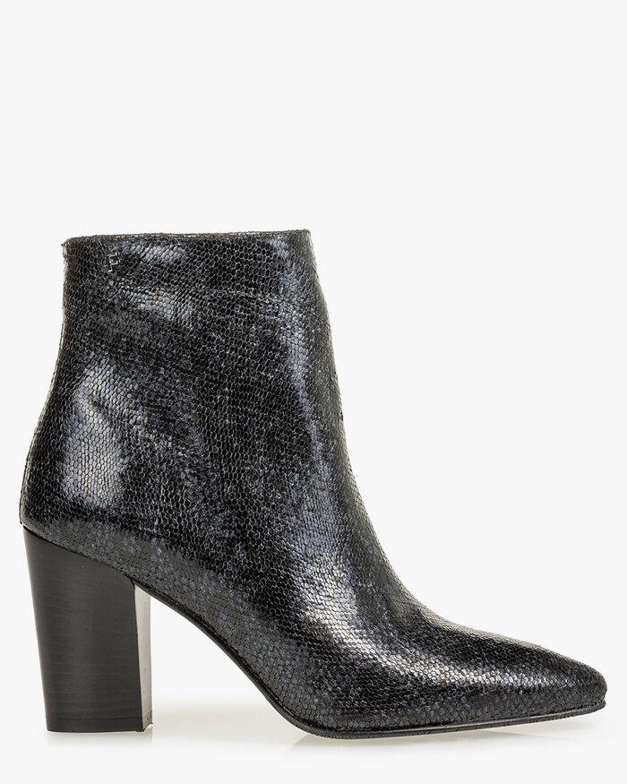 Ankle boot metallic print blue