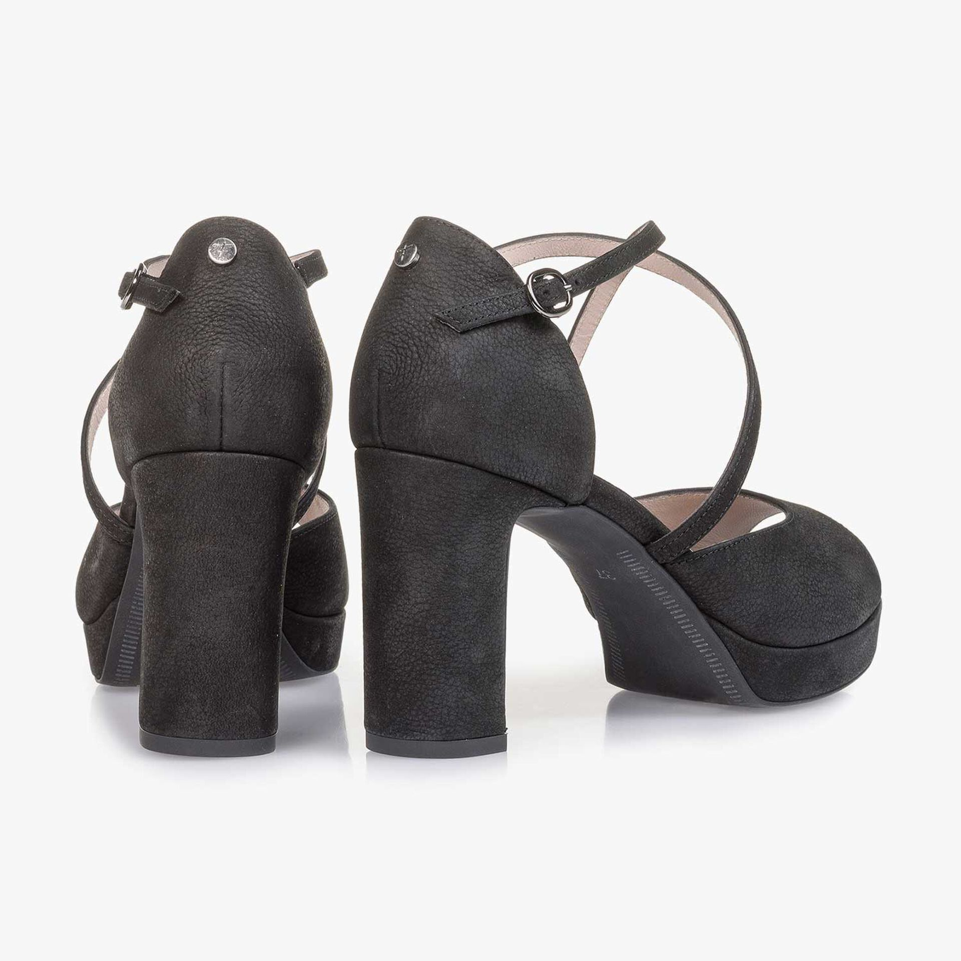Black structured nubuck leather high-heeled sandal