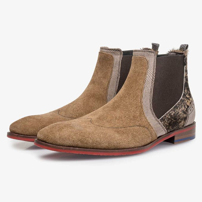 Brown suede leather Chelsea boot with pony hair