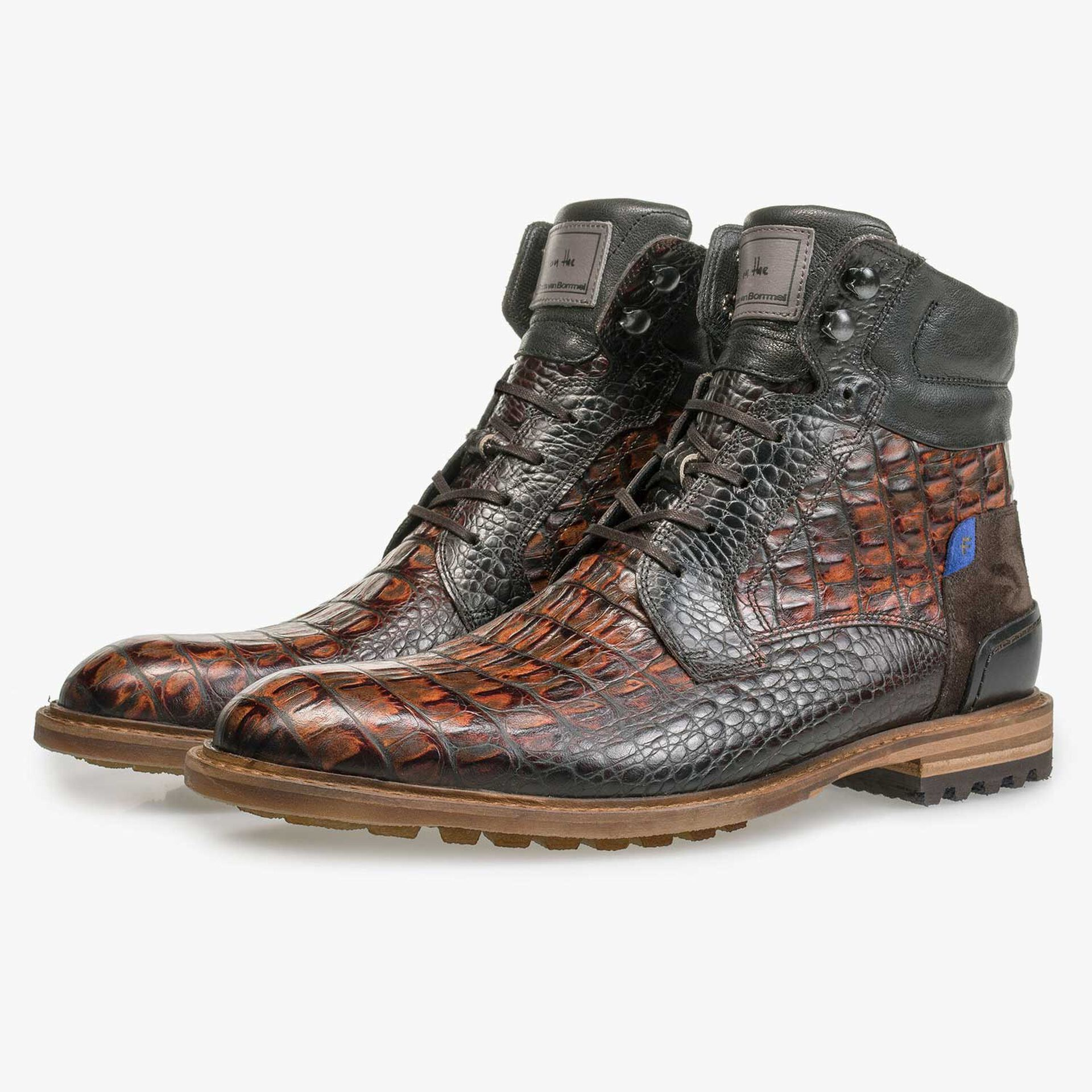 Brown calf leather lace boot with croco print