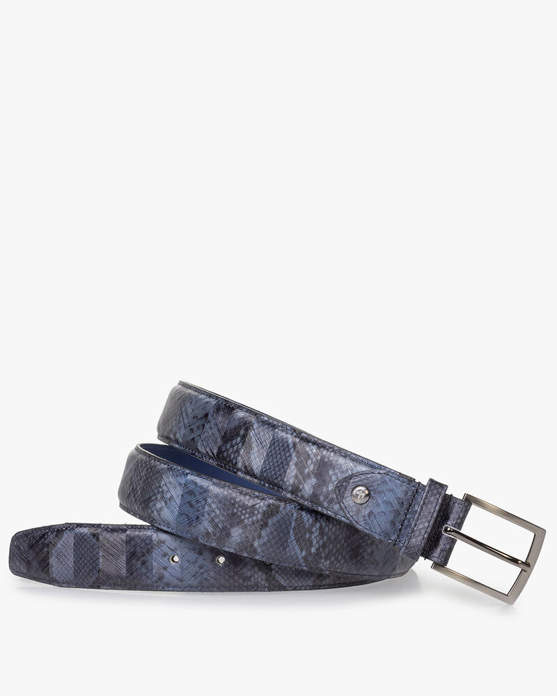 Grey patent leather belt with snake print