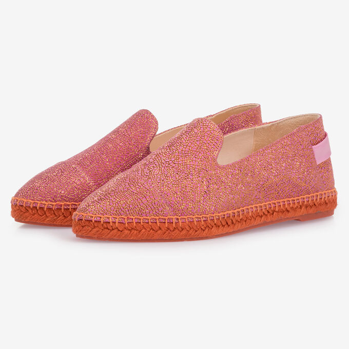 Pink leather espadrilles with metallic print