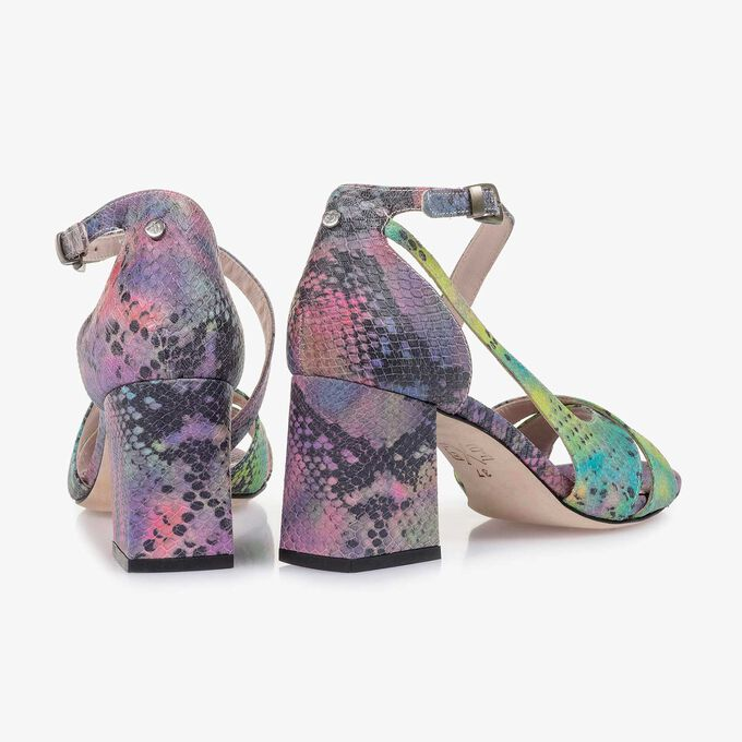 Purple snake print leather sandal