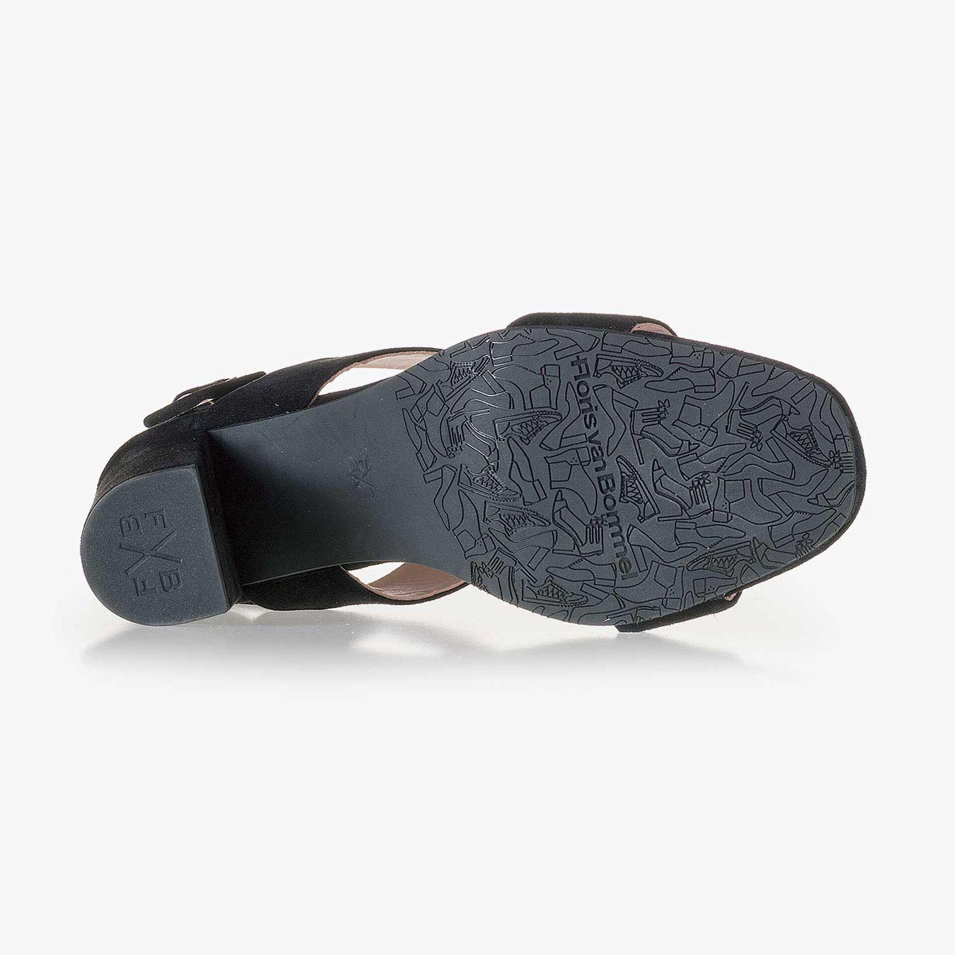 Black suede leather heeled sandal