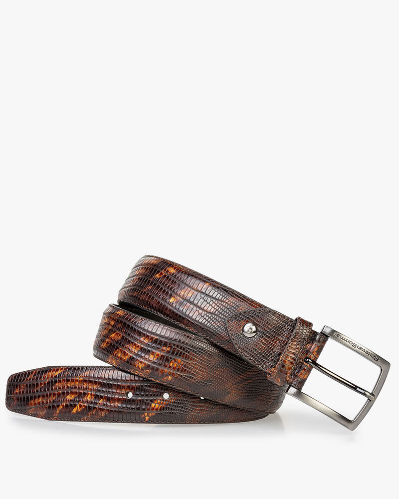 Leather belt print dark cognac