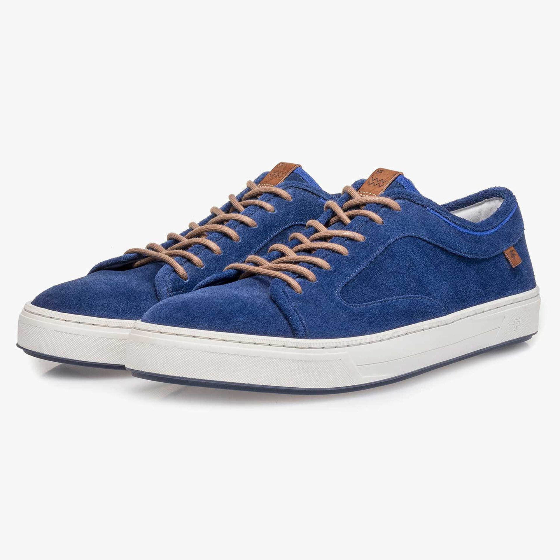 Blue washed suede leather sneaker