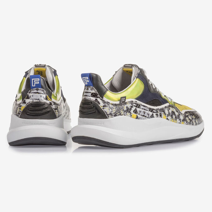 Multi-colour sneaker with grey and yellow print