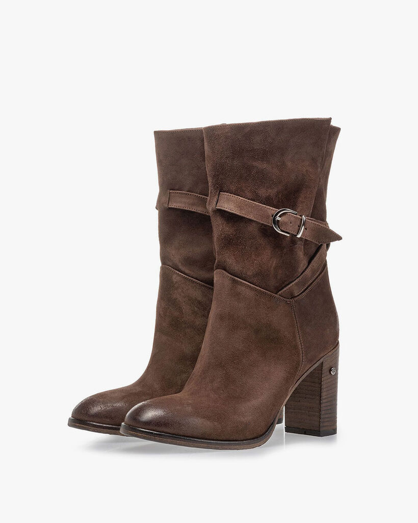 Mid-high boot suede leather brown