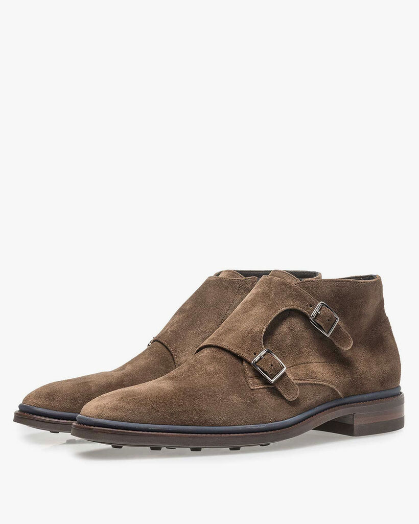 Taupe-coloured suede monk
