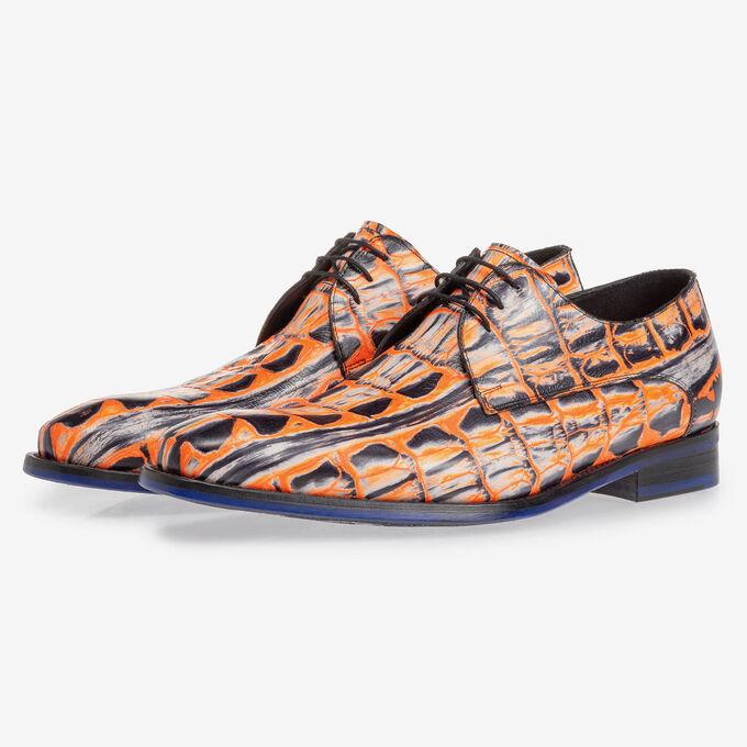 Lace shoe orange croco print