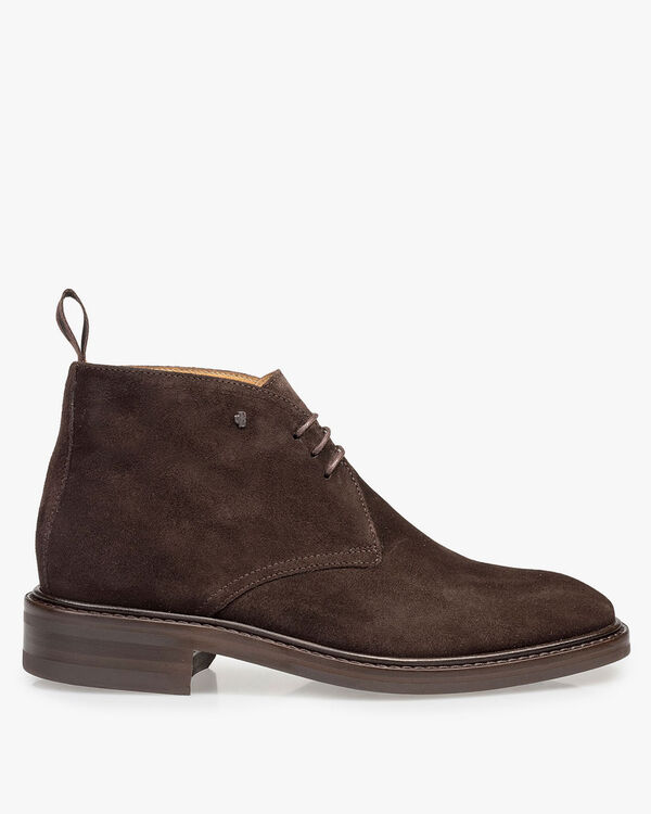 Dark brown suede leather lace boot