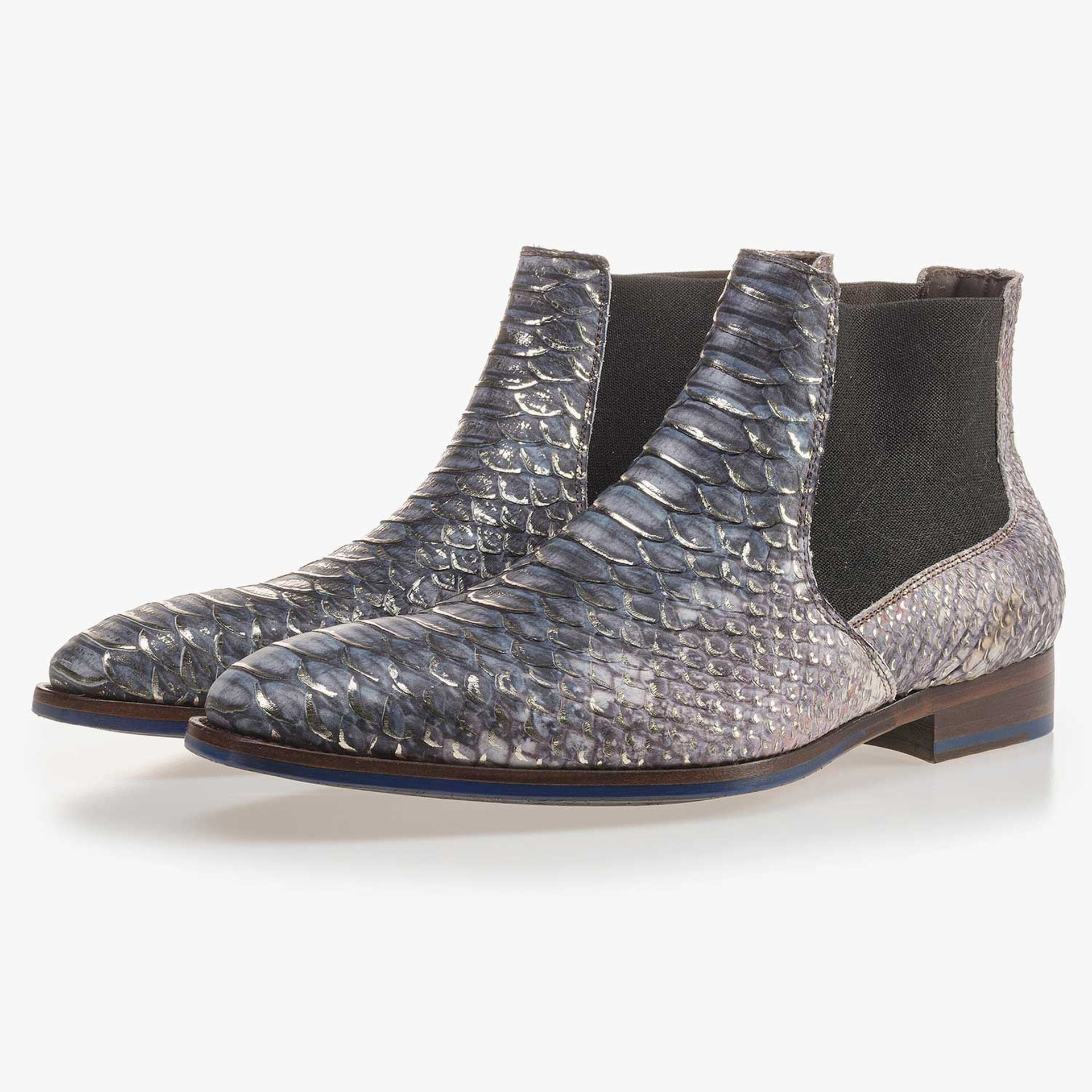 Premium blue Chelsea boot with a snake relief pattern