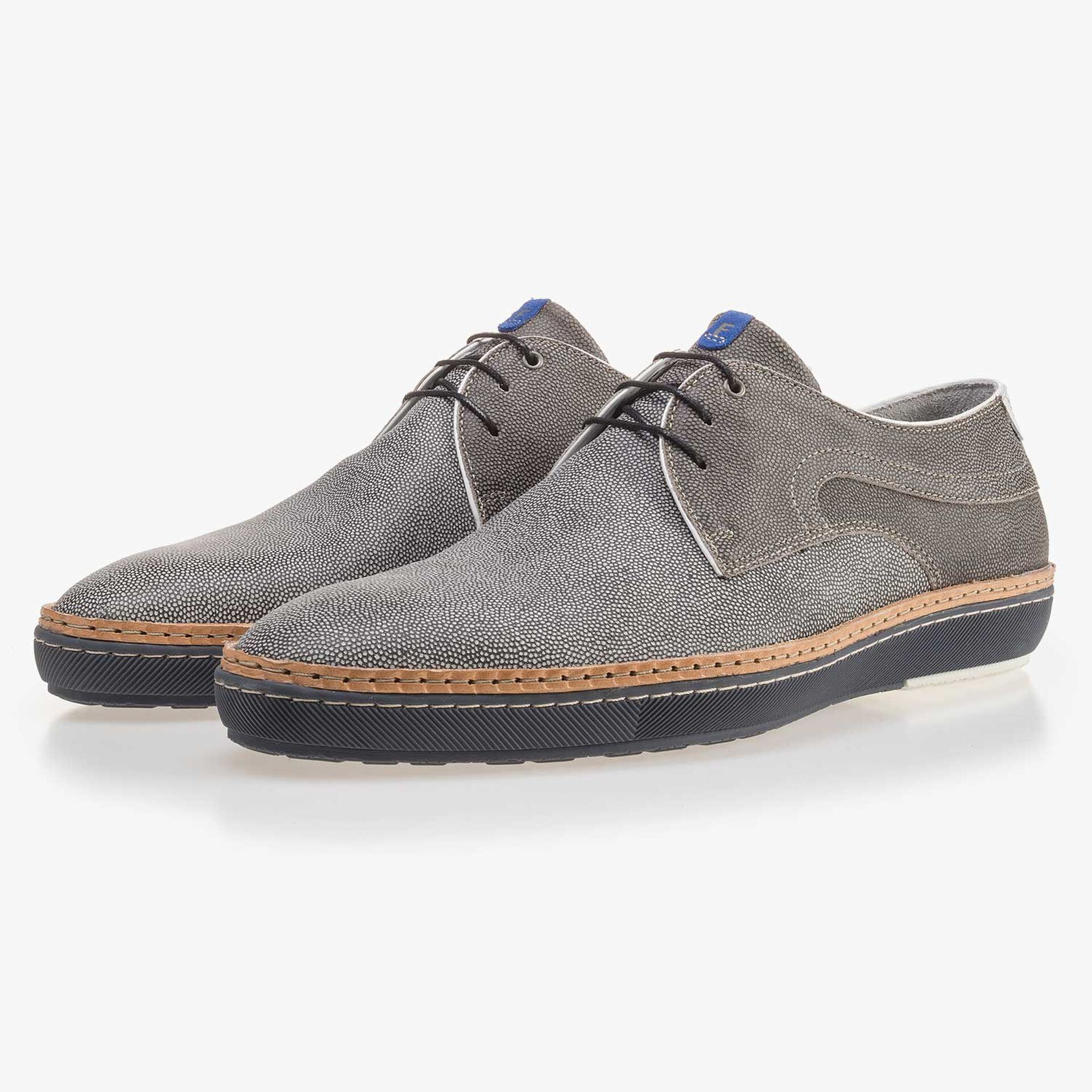 Grey patterned suede leather lace shoe