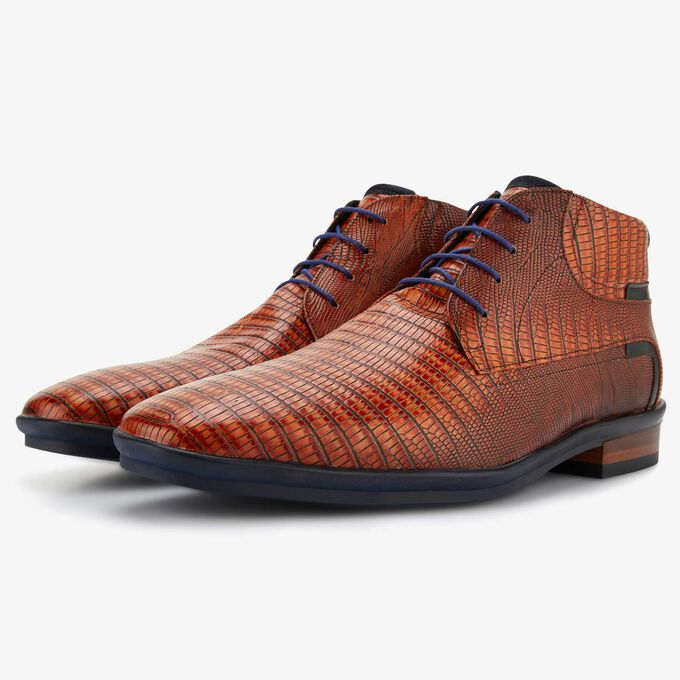 Cognac lace boot with lizard print