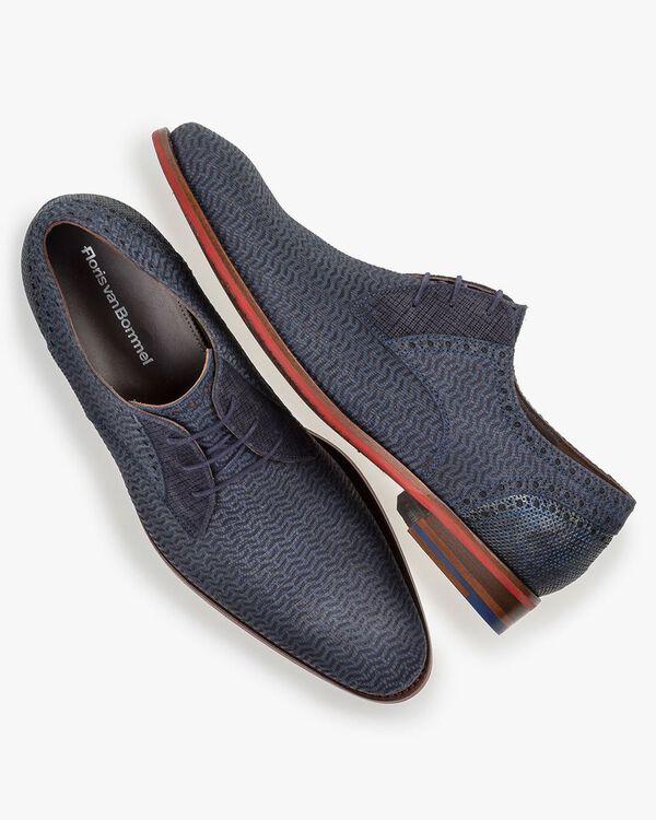Lace shoe nubuck leather blue