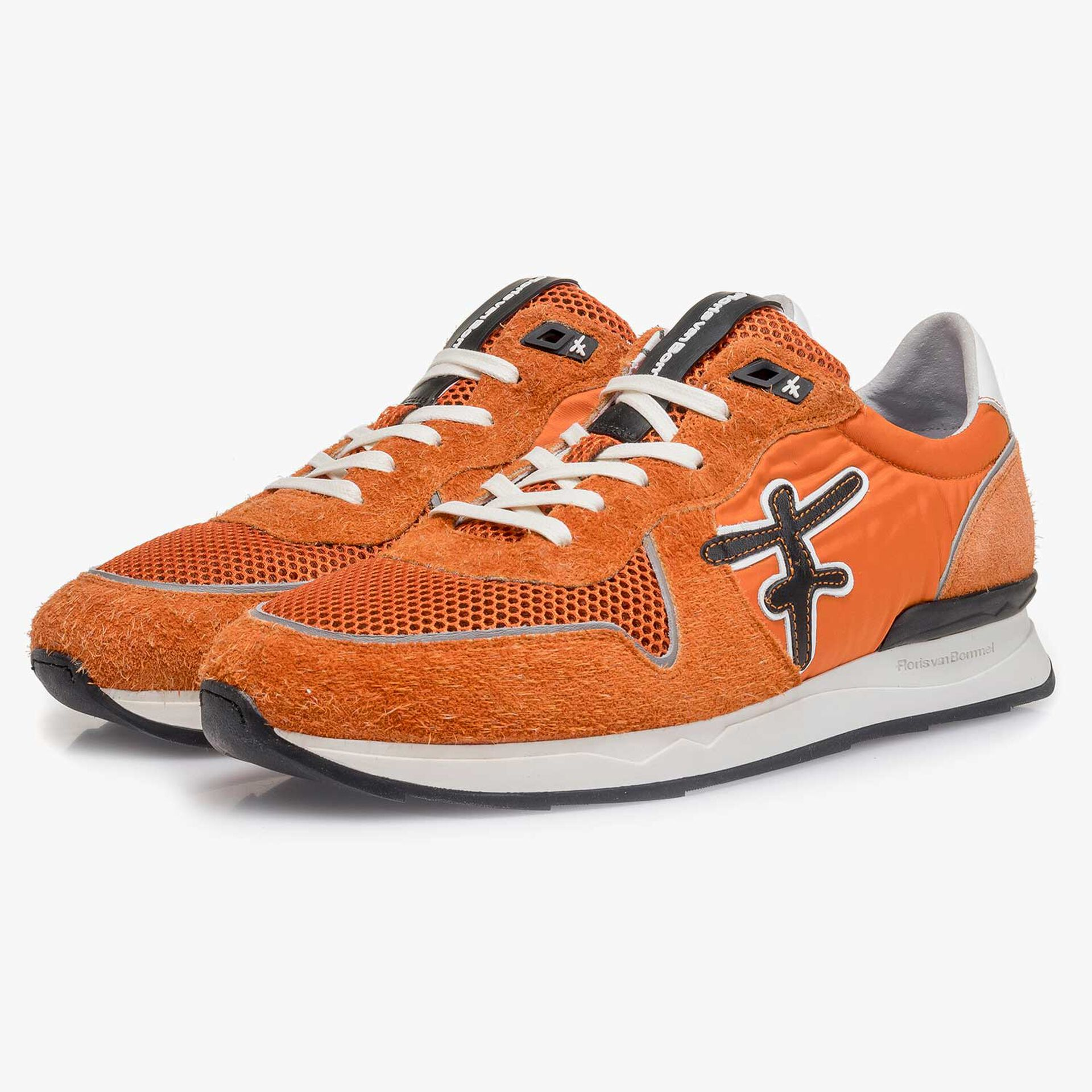 Orange-black suede leather sneaker