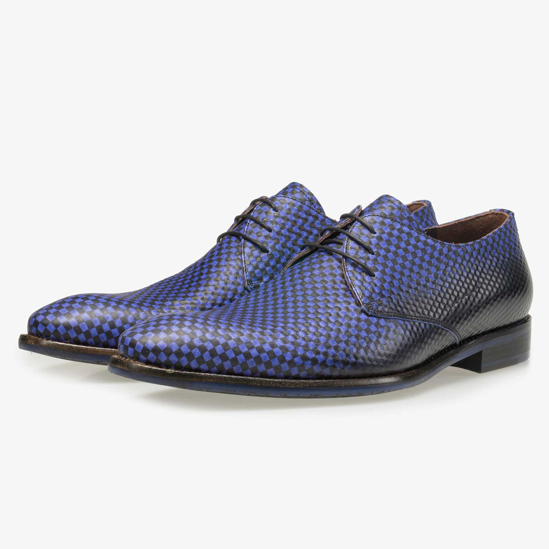 Floris van Bommel men's electric blue leather lace shoe