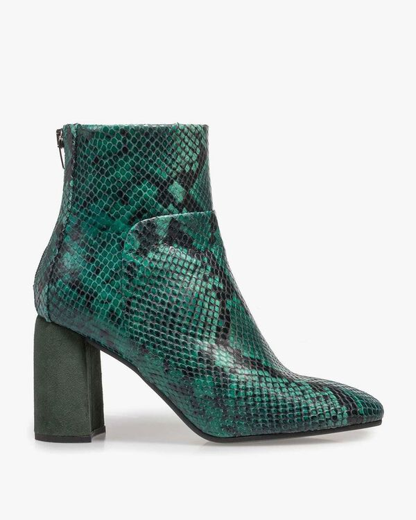 Green leather ankle boot with snake print