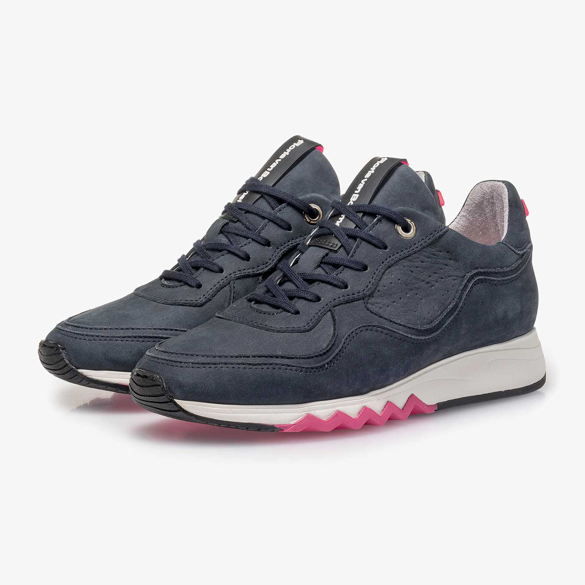 Dark blue nubuck leather sneaker