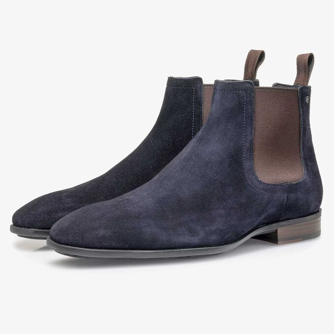 Dark blue waxed suede leather Chelsea boot