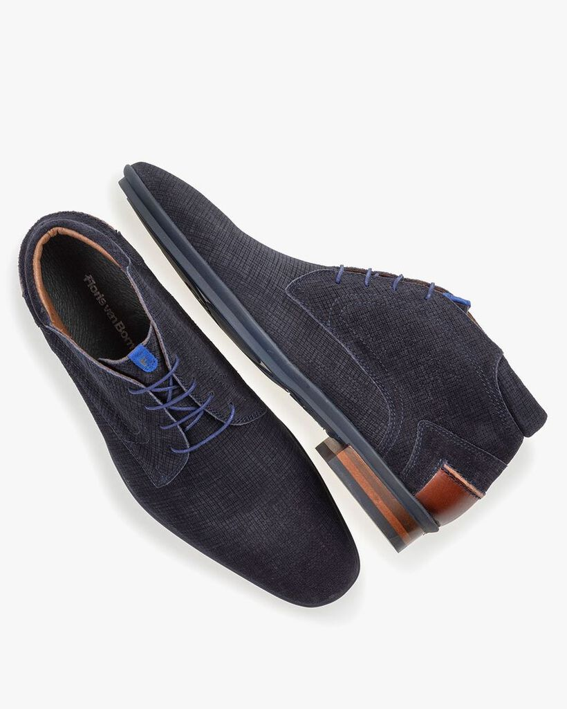 Boot printed suede leather blue