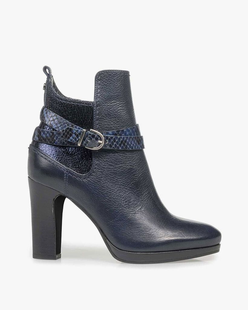 Blue calf leather ankle boots