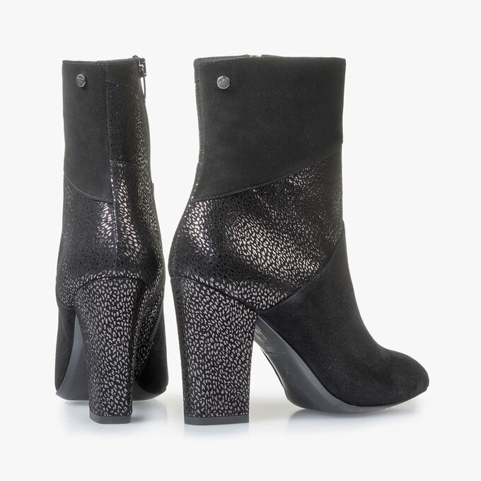 Black ankle boots with metallic print